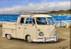 "1960's VW Double Cab at Monterey Bay, California  9""X12"" oil on panel. #vw #vwdoublecab #doublecab #monterey #montereybay #californialove #pacificocean #norust #norcal #ronayresfineart #westendcelebration #millvalley #lukasfarben #oilpainter #oilpainting #oilartist #oilonpanel #vintagevw #ronayres #californianative #montereybaylocals - posted by Ron Ayres https://www.instagram.com/ronayresfineart - See more of Monterey Bay at http://montereybaylocals.com"