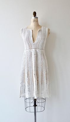 Bulgarian Crochet dress vintage 1920s cotton crochet dress
