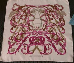 """HERMES PARIS """" Le Mors """"a la conetable"""" scarfe made in france 100 % silk soie vintage 70's retro classic 42 cm collectors object pink beige on Etsy, $234.38"""