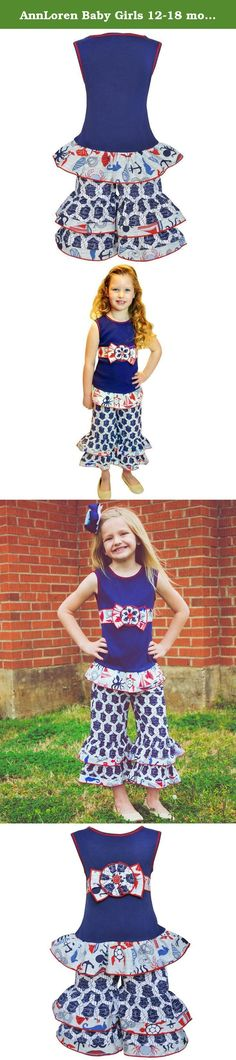 AnnLoren Baby Girls 12-18 mo Anchors Away Nautical 4th of July Summer Outfit. Check out this adorable AnnLoren Girls Navy Blue Two-Piece Nautical Sea Creatures Tunic & Capri Set! Featured Navy Blue knit Tunic is adorned with original AnnLoren sea creature printed skirt and bow. Capris boast a Nautical Wheel Print and are trimmed with a stylish sea life print. Pants boast an Elastic waistband for a comfortable fit. Made with 100% Cotton and machine washable. SKU: ROPES-SS-19NS.