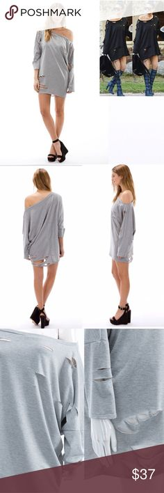 🆕JUST IN! Destroyed T-SHIRT SWEATER DRESS GREY! 🆕JUST IN! Destroyed T-SHIRT SWEATER DRESS IN GREY! KARDASHIAN favorite! It's no wonder why these bad boys are so popular! Pair with some heels for the stylish sexy look or comfy with your favorite leggings! This amazing fabric is made with comfy french terry/ 87% polyester 10% polyester. Comfy enough to even sleep in! 100% made in the U.S.A! The Blossom Apparel Sweaters