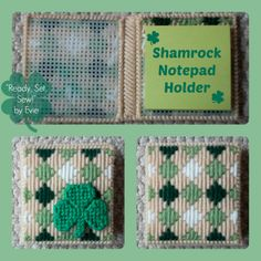 Plastic Canvas: Shamrock Notepad Holder -- Wear some green at work, school or home right at your desk! :)