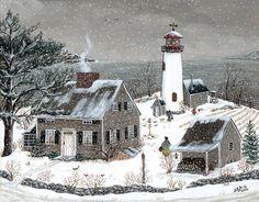 """Lighthouse at James Point"" - Sharon Ascherl Primitive Painting, Primitive Folk Art, Vintage Christmas Images, Christmas Art, Lighthouse Painting, Inspirational Artwork, Winter Art, Country Art, Christmas Background"