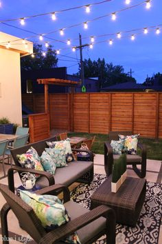 HOW TO HANG PATIO STRING LIGHTS! Commercial grade string lights are ideal for permanent installation in your yard, and can withstand the elements year round. Outdoor Screen Room, Outdoor Rooms, Outdoor Decor, Outdoor Kitchens, Simple Outdoor Kitchen, Outdoor Kitchen Design, Backyard Lighting, Outdoor Lighting, Lighting Ideas