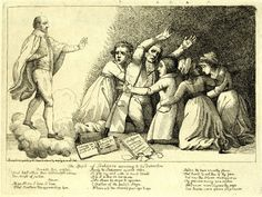 'The spirit of Shakespere appearing to his detractors' by Silvester Harding, from the Gentleman's Magazine, 1797. This cartoon mocks the fraudster William Henry Ireland, who claimed a play that he had written, Vortigern, was in fact a 'lost' work by William Shakespeare. See it in the British Library's 'Shakespeare In Ten Acts' exhibition until 6th September 2016.