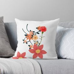 'I love Flowers' Throw Pillow by Scatter Cushions, Throw Pillows, Love Flowers, Pattern Design, Floral Design, My Arts, Tropical, Art Prints, Printed