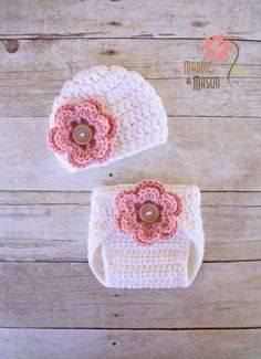 Cream Diaper Cover and Hat Set with by MaddieandMason on Etsy