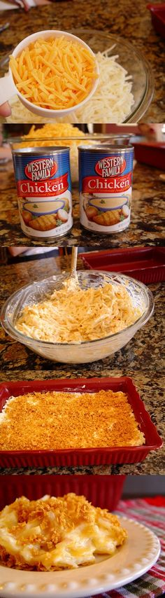Cheesy Potato Casserole: 1 (32 ounce) package frozen shredded potatoes  1 C sour cream  2 1/2 C cheddar cheese  4 T melted butter, divided  2 (10 ounce) cans cream of chicken soup  salt and pepper  1 1/2 C corn flakes
