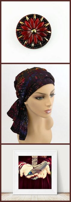 Caravan   These wonderful selections can be found here:  Garnet Flower Button:  https://www.etsy.com/listing/219856738/garnet-red-czech-glass-flower-button  Colorful Turban: https://www.etsy.com/listing/188989488/fired-up-fern-colorful-turban-hat-set  Feather Photograph: https://www.etsy.com/listing/82622601/feather-photograph-woodland-portrait