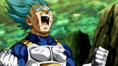 Super Saiyan Blue Vegeta Laughing