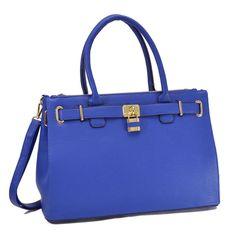 Dasein Faux Padlock Double Zipper Satchel Handbag, Women's
