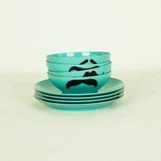 Fab.com | Moustache Bowls And Plates 8Pc