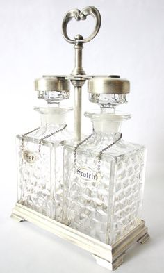 1930s Fostoria Scotch and Rye Crystal Decanter Set In Silver Plated Holder/Scotch Decanter/Rye Decanter/Whiskey Decanter/Bourbon Decanter