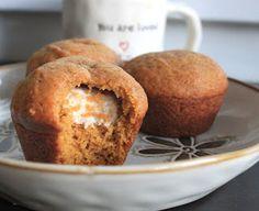cinnamon cream cheese filled pumpkin muffins-these