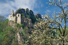 In the north-west of Slovakia in the Biele Karpaty Mts. lies the village Lednica with the picturesque Lednické bralo rock and castle ruins on its top, perhaps the most inaccessible one among the castles in Slovakia. It looks like an eagles nest. Castle Ruins, Bratislava, Abandoned Places, Monument Valley, Mount Rushmore, Survival, Around The Worlds, Beautiful Women, North West
