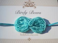 Turquoise Bow Headband Baby Headband Baby Girl by BirdyBows, $5.95