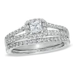 1/2 CT. T.W. Princess-Cut Diamond Frame Split Shank Bridal Set in 14K White Gold
