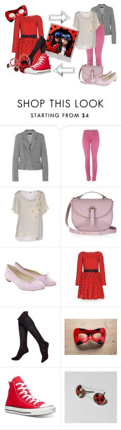 """""""Miraculous Ladybug/Marinette Dupain-Cheng"""" by kailyn-designs ❤ liked on Polyvore featuring Haider Ackermann, P.A.R.O.S.H., Meli Melo, Unützer, Polaroid, Yves Saint Laurent, Hue, Converse, Villeroy & Boch and Superhero"""