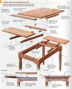 Expanding Table Plans - Furniture Plans and Projects - Woodwork, Woodworking, Woodworking Plans, Woodworking Projects Woodworking Ideas Table, Woodworking Furniture Plans, Woodworking Patterns, Easy Woodworking Projects, Woodworking Tools, Expandable Dining Table, Diy Dining Table, Dining Room, Dining Chairs