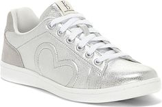 ED Ellen DeGeneres Women's Shoes in Silver Suede Color. Spread the love in sporty-chic style with these metallic kicks featuring cursive embroidery at the heel and racing stripes at the sole. Sporty Chic Style, Ed Ellen Degeneres, Racing Stripes, Silver Shoes, Fashion Over, Me Too Shoes, Women's Shoes, Everyday Fashion, Fashion Shoes