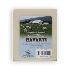 Creamy Havarti Raw Goat Milk Cheese from soy free milk that was organically farmed. Sure to please one who likes mild cheeses and looking for goat milk cheese.