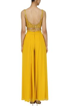 Arpita Mehta presents Yellow pineflower crop top and palazzo pants set available only at Pernia's Pop Up Shop. Shrug For Dresses, Indian Gowns Dresses, Indian Fashion Dresses, Indian Designer Outfits, Indian Outfits, Designer Dresses, Fashion Outfits, Western Outfits, Designer Clothing