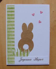carte Joyeuses Pâques lapin verdure et petits coeurs : Cartes par cdine08-aux-cartes-de-sandrine
