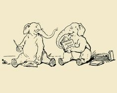 Items similar to Print -Elephants Reading- From 1905 Children's Book Illustration on Etsy Elephant Illustration, Children's Book Illustration, Animal Illustrations, Elephant Theme, Pattern Drawing, Little Books, Baby Decor, Book Lovers, Comic Art