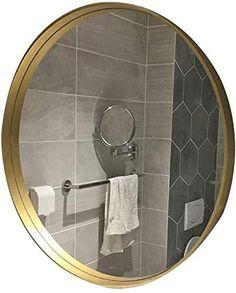 JIANGLI Oval Makeup Mirror Nordic Metal Frame Bathroom Mirror Wall-Mounted Bathroom Toilet Mirror Wall Decorative Mirror (Size : 50cm) Retro 4, Wall Mounted Mirror, Bathroom Toilets, Metal, Frame, Makeup, Furniture, Home Decor, Picture Frame