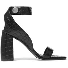 Stella McCartney Croc-effect faux leather sandals ($645) via Polyvore featuring shoes, sandals, strappy sandals, black shoes, strappy block heel sandals, block heel sandals and black block heel shoes