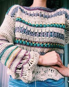Boho jersey, picture only Moda Crochet, Knit Crochet, Tunisian Crochet, Crochet Stitches, Knitting Patterns, Crochet Patterns, Crochet Winter, Crochet Woman, Crochet Cardigan