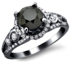 1.95ct Black Round Diamond Engagement Ring 14k Black Gold