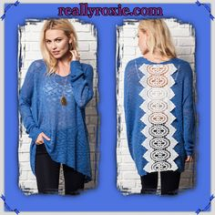 Pullover Sweater with Lace Back! Gorgeous blue color. Get it now @ reallyroxie.com!