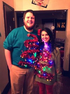 "DIY Light Up ""Ugly"" Christmas Sweaters! Brilliant, this couple, lookin' gooood. Light Up Christmas Sweater, Ugly Holiday Sweater, Ugly Sweater Party, Christmas Sweaters, Tacky Christmas, Christmas Couple, Winter Christmas, Christmas Crafts, Christmas Time"
