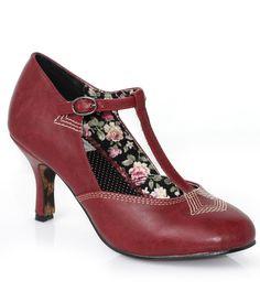 1920s style Deco detail shoes: Burgundy Leatherette Closed Toe Gavi T-Strap Heels $72.00 AT vintagedancer.com