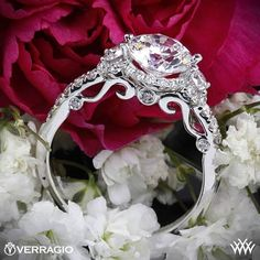 Verragio Double French-Set Halo 3 Stone Engagement Ring from the Verragio Insignia Collection.