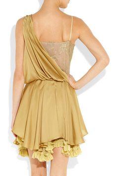 Julien MacDonald Silk Satin and Lace Dress