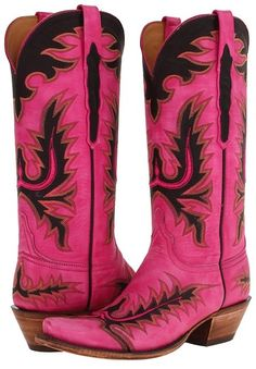 Lucchese bright pink boots.