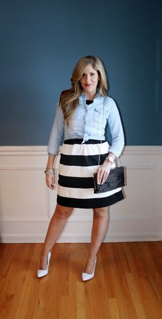 Black and white striped dress with a chambray shirt layered over top