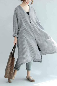 Spring Linen Plaid Casual Loose Long Shirt Dress For Women S3405