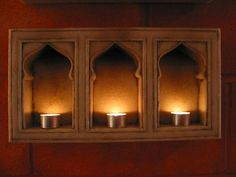 Hand Carved Marble Mughal Design 3 Way Lamp Niche