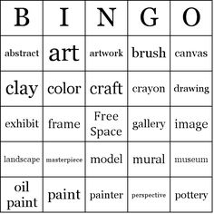 Make up art vocabulary bingo sheets, read the definitions, not the words to students.  Use at end of year when EOG makes crazy schedule.