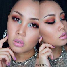 Vibrant look by Miizzrica called 'Inspired by Bossassmakeup' using Makeup Geek eyeshadows Cocoa Bear, Creme Brûlée, and Mermaid.