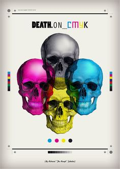 skulls, graphic design, cmyk, fashion styles, colors, death, poster, design art, tattoo