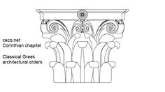 Corinthian chapitel - classical greek architectural orders , in front view  Description for this Autocad drawing : column greek greece stone temple classic pillar roman rome capital antique ancient architectural architecture art athens classical culture marble mediterranean old order ornate pedestal podium , chapiter, capitel, orders, corinth, corinthian, chapiter, capitel, order, columns .