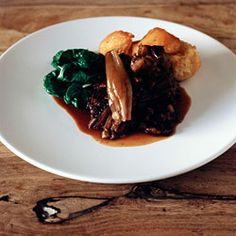 Tom Kerridge's slow roast venison haunch with shallots, cranberries and chestnuts