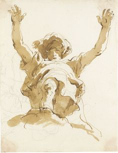 Giovanni Battista Tiepolo (1696-1770), STUDY OF A FIGURE WITH A TURBAN AND RAISED ARMS, Pen and brown ink and wash over black chalk, 216 x 170 mm
