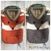 This is a PDF crochet pattern for a fox & Wolf car seat cozy! This cozy is designed to either wrap under the bottom of car seat or stay inside the car seat with babies feet tucked inside the bottom pouch. The pouch will not interfere with car seat buckles! I've also included a larger size for bigger car seats. It's the perfect cozy for your little ones to snuggle up with in the car. They will love the feel of Bernat Baby Blanket yarn and it washes up great too! Use grey for wolf or pumpkin…