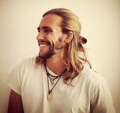 men's semi-bun for long hair