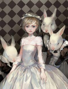"Characters: ""Alice"" ""White Rabbit"" Artist: ""CHM"""